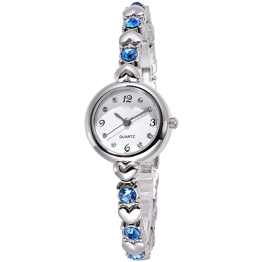 Senjarya Times White Dial blue Stone Strap Design fancy bracelet tipe watch  For Women And Girls