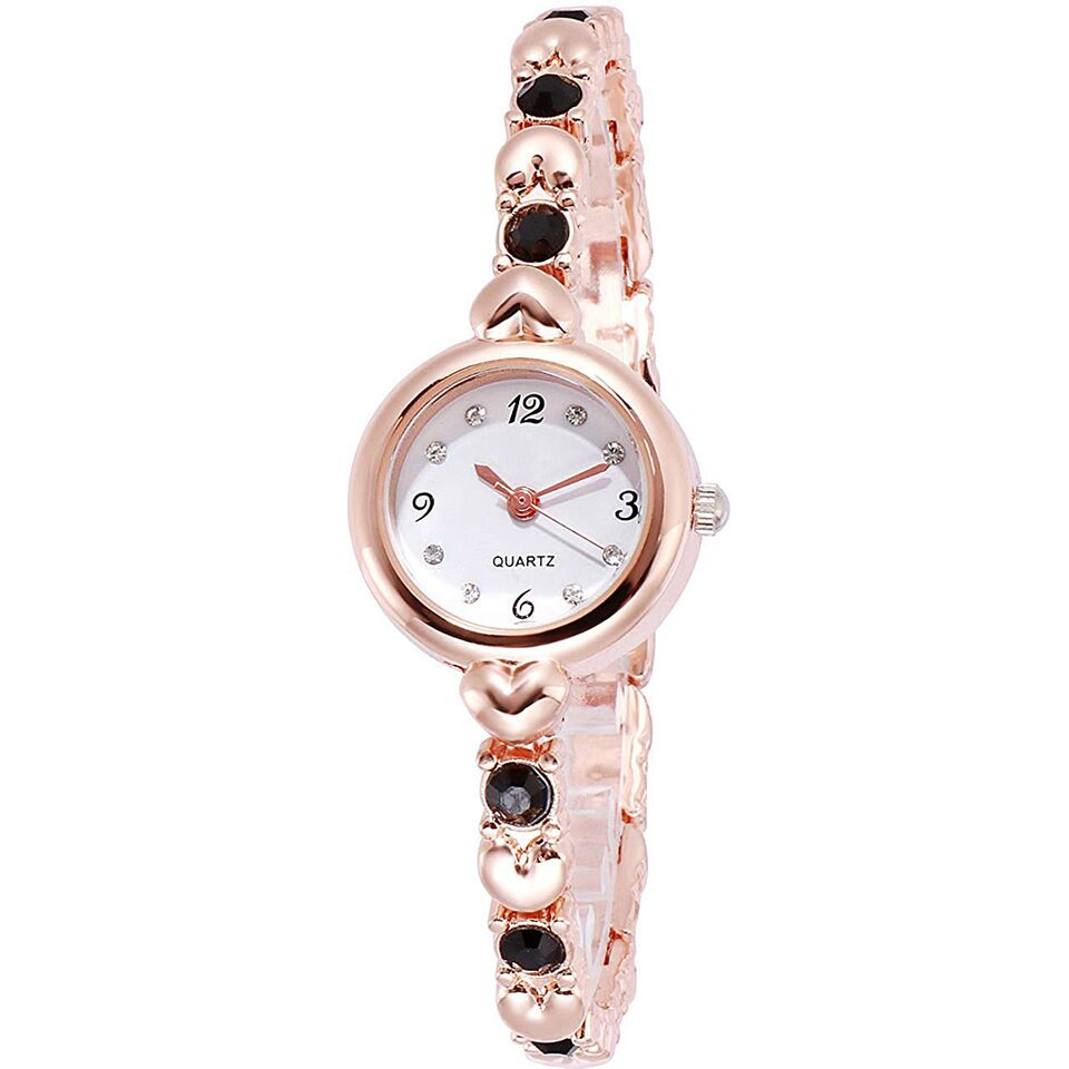 Senjarya Times White Dial Black Stone Strap Design fancy bracelet tipe watch  For Women And Girls