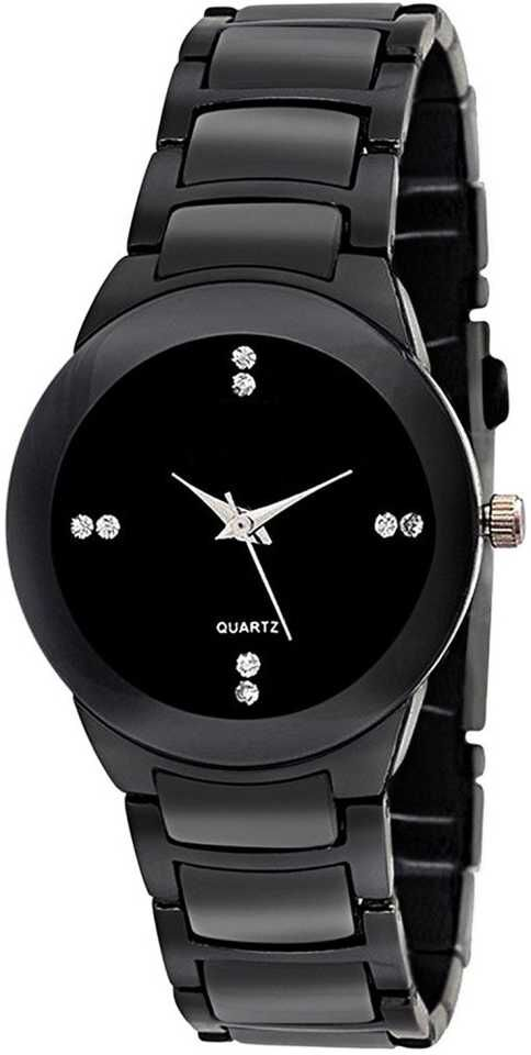 Senjarya Times Slim Small Black Dial Metal Strap Watch For Girls And Lady