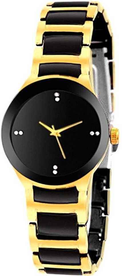 Senjarya Times Slim Small Black Dial Gold Metal Strap Watch For Girls And Lady