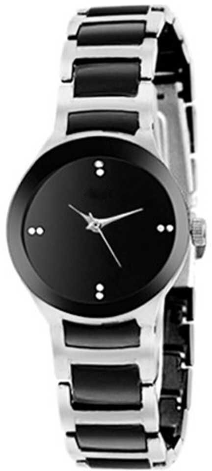 Senjarya Times Slim Small Black Dial Silver Metal Strap Watch For Girls And Lady