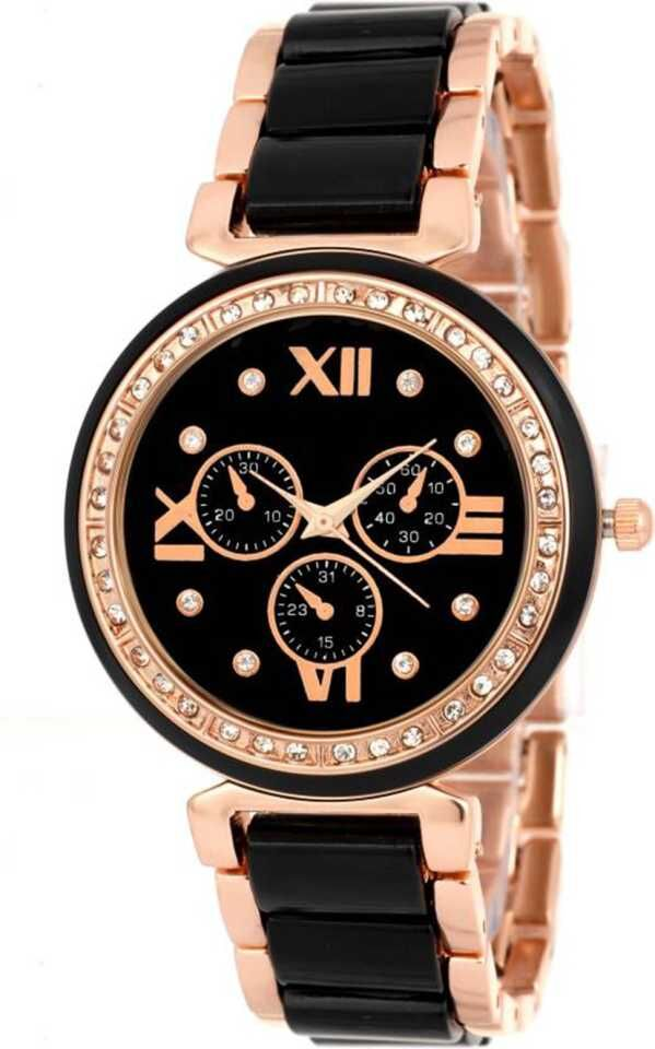 Senjarya Times Slim Black Dial Diamond Case Metal Strap Watch For Girls And Lady