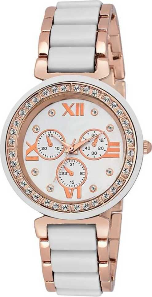 Senjarya Times Slim White Dial Diamond Case Metal Strap Watch For Girls And Lady