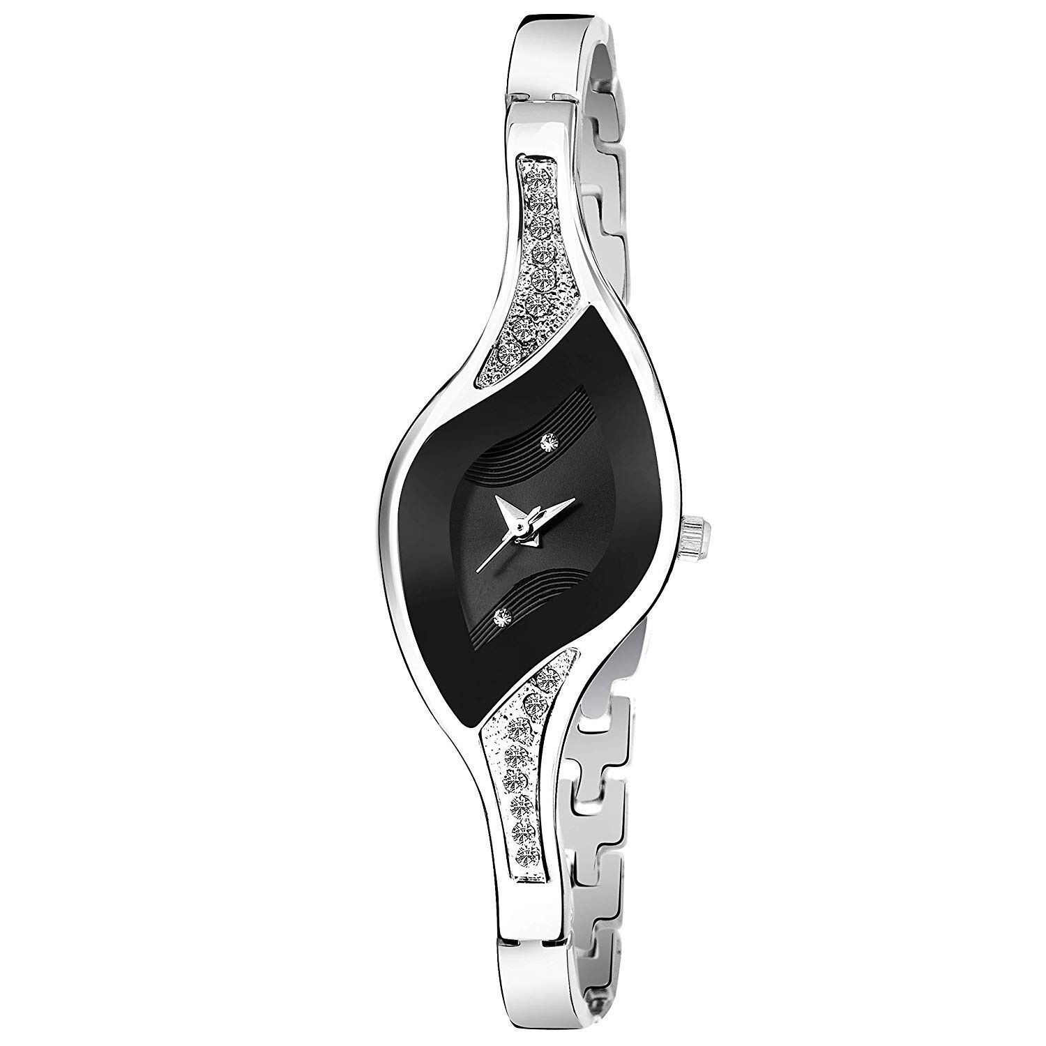 Senjarya Times Fancy Populer Black Oval Dial Metal Strap Watch For Girls And Lady