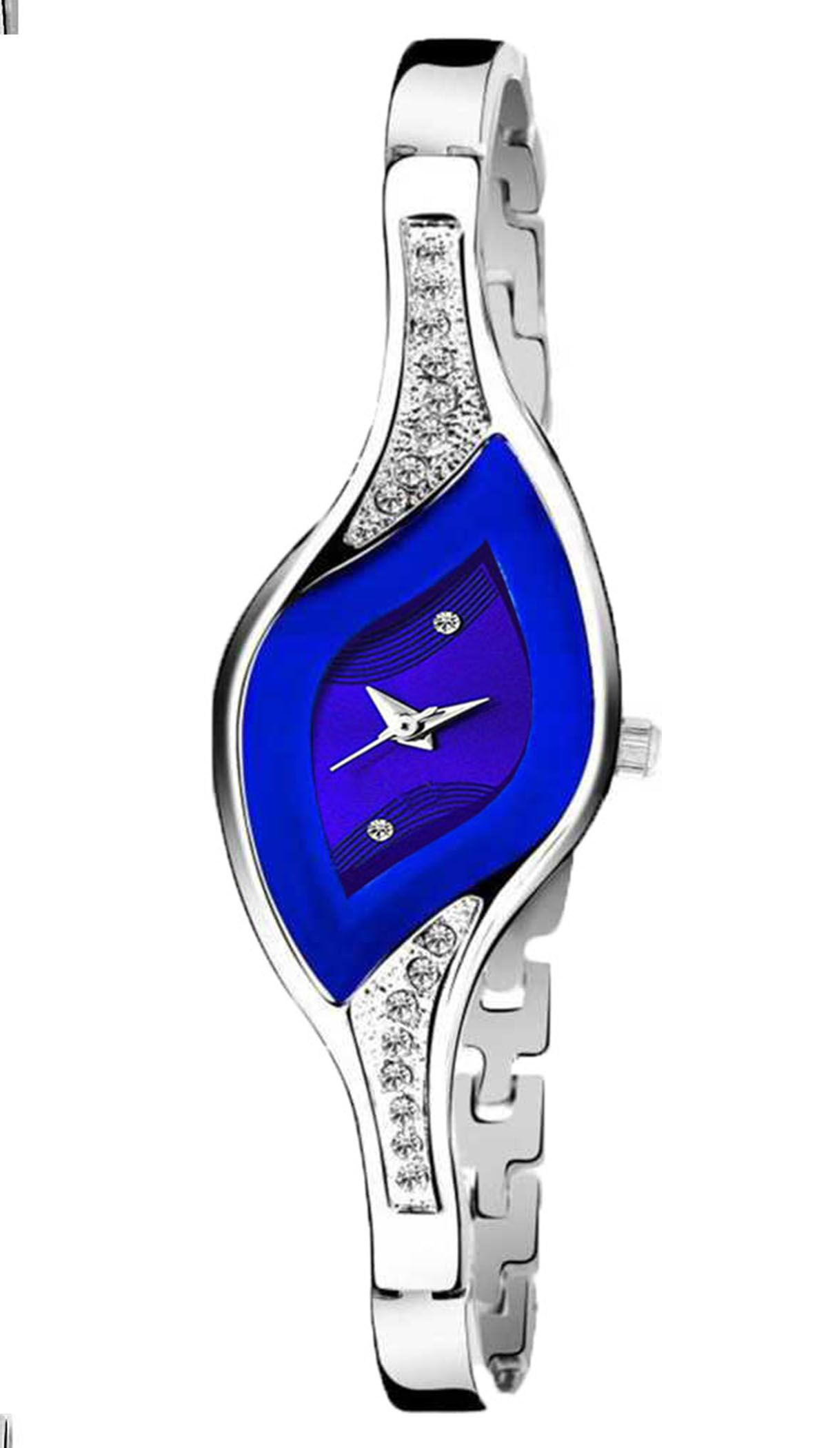 Senjarya Times Fancy Populer Blue Oval Dial Metal Strap Watch For Girls And Lady