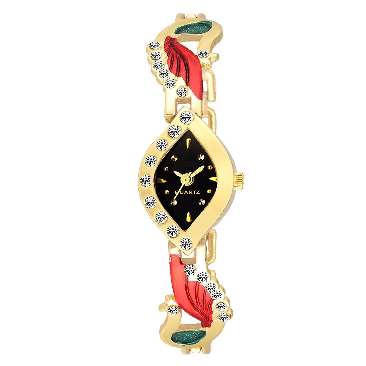 Senjarya Times Slim Slim Black Dial Golden Jewellery Bengal Bracelate Watch For Girls And Ladies
