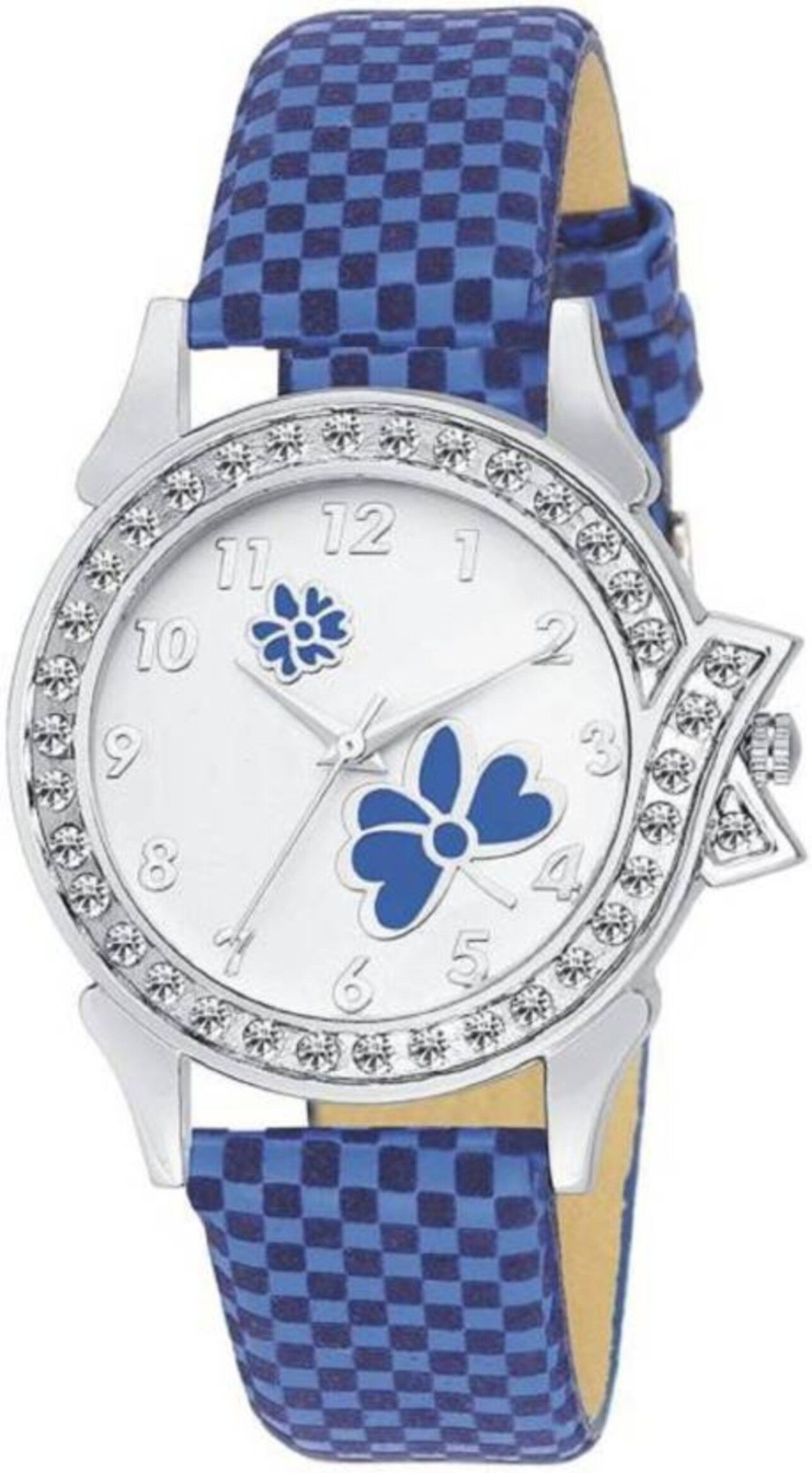 Senjarya Times Slim White Diamond  Dial Blue leather Strap Fancy Watch For Girls And Ladies