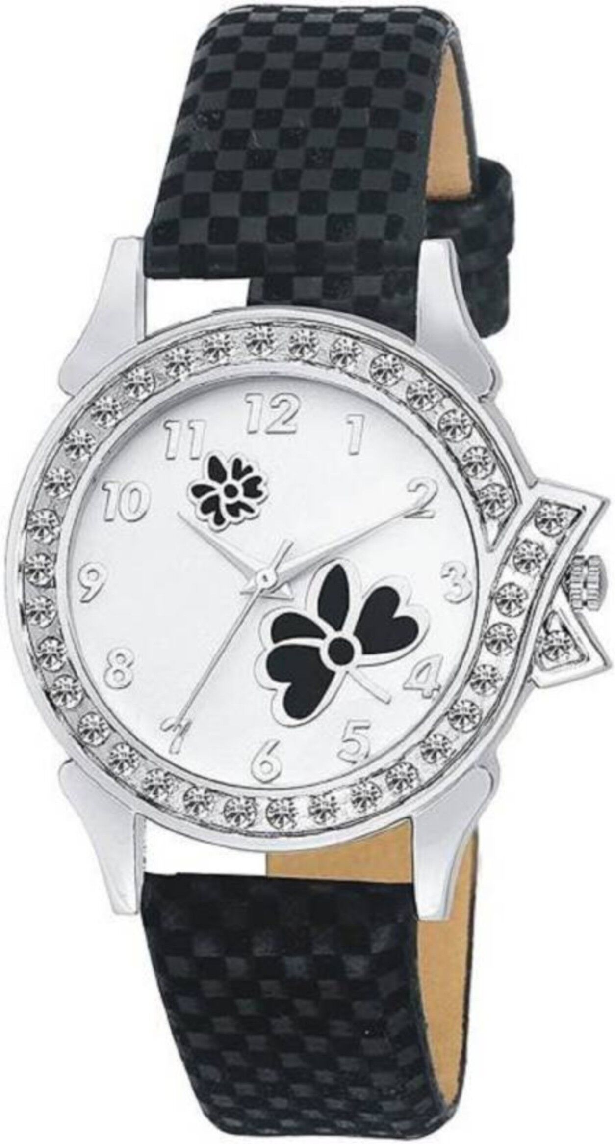 Senjarya Times Slim White Diamond  Dial Black leather Strap Fancy Watch For Girls And Ladies