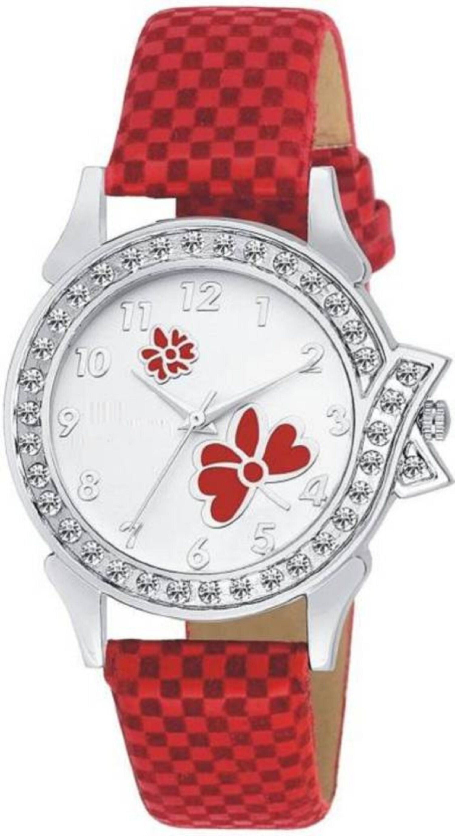 Senjarya Times Slim White  Diamond  Dial Red leather Strap Fancy Watch For Girls And Ladies