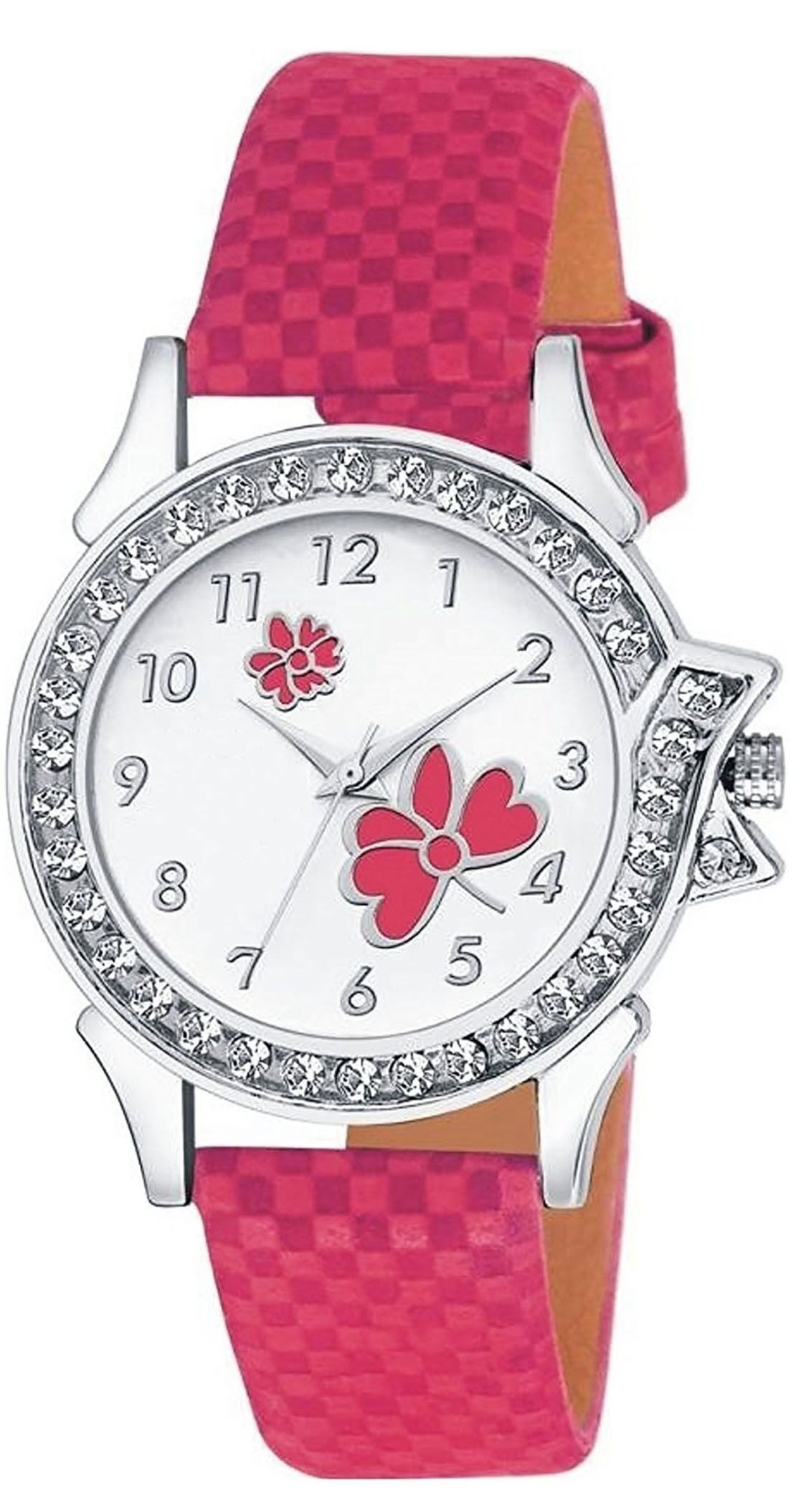 Senjarya Times Slim White Diamond  Dial Pink leather Strap Fancy Watch For Girls And Ladies