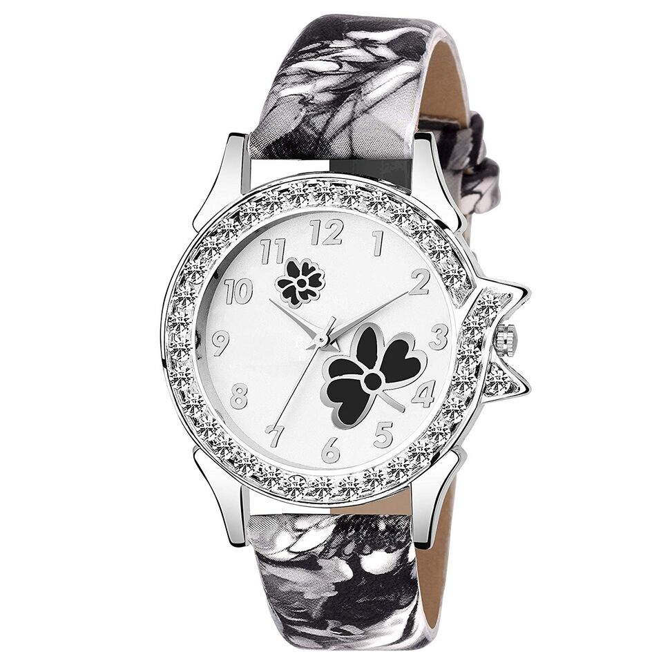 Senjarya Times Slim White Diamond  Dial Black Design leather Strap Fancy Watch For Girls And Ladies
