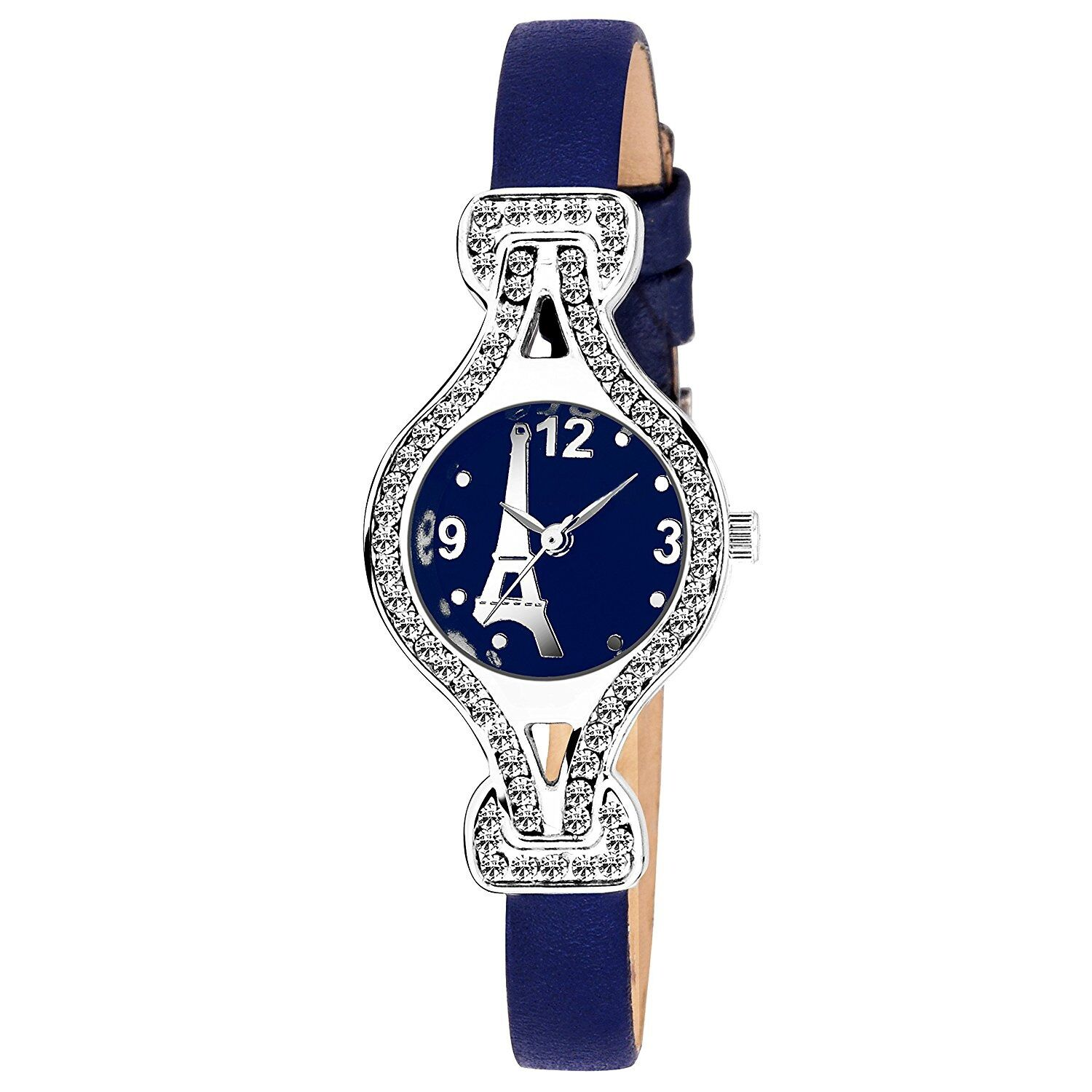 Senjarya Times Slim Blue Dial Perish Design Blue Leather Belt Watch For Girls And Ladies