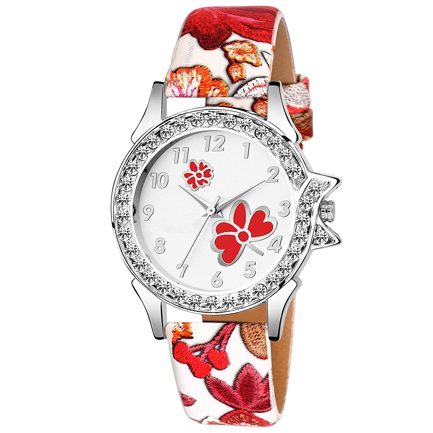 Senjarya Times Stylish Diamond Studded Red  Leather Analog Watch For Girls And Ladies