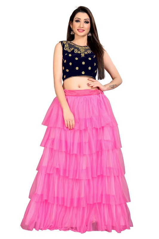 women Self Design net Semi Stitched Lehenga Choli