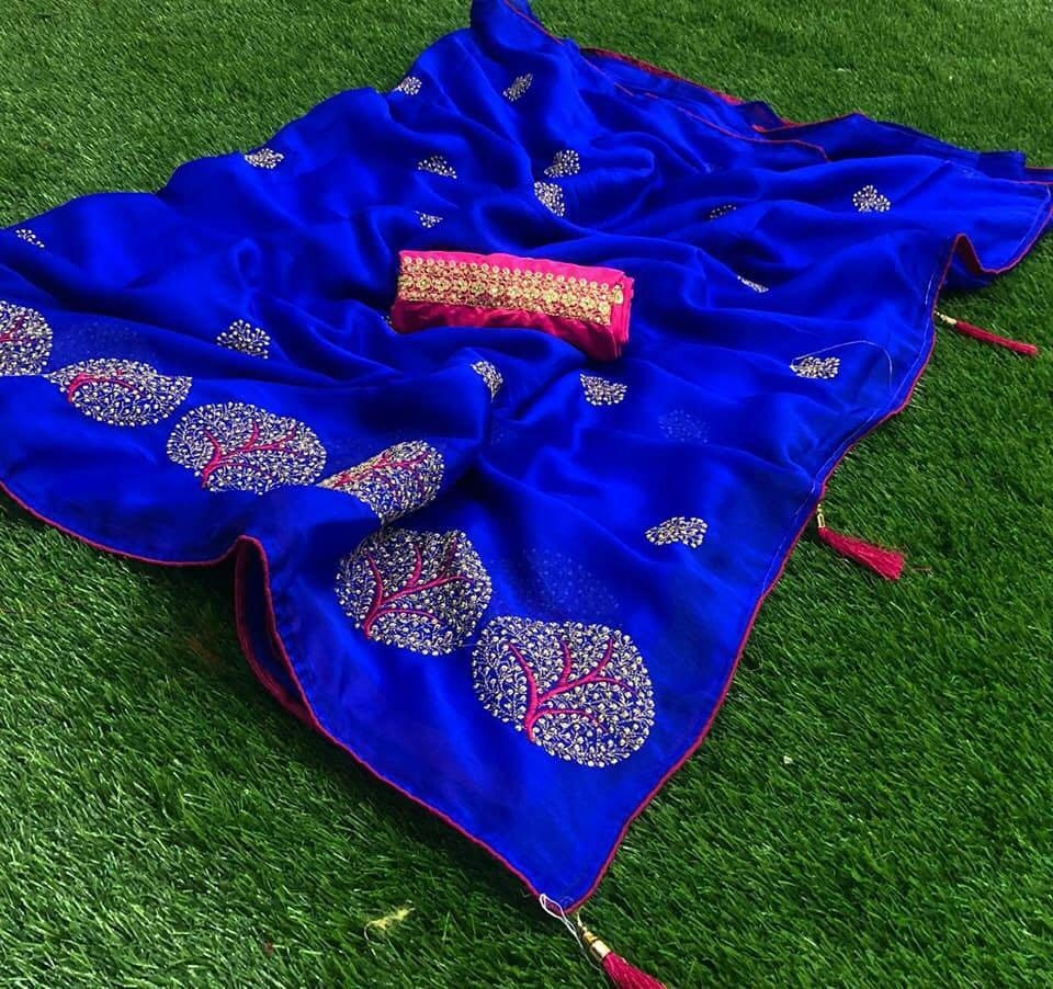 women Embroidered Bollywood Chiffon Saree
