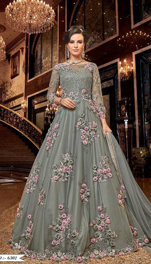 Fabulous Grey Colored Net Embroidary Western Gown
