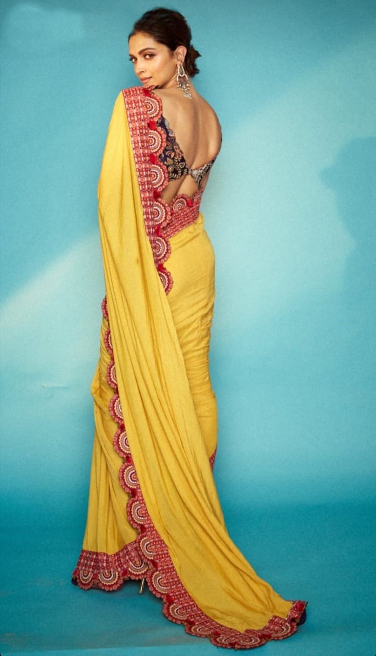 Deepika Padukon Japan Satin Yellow Color Digital Printed Saree