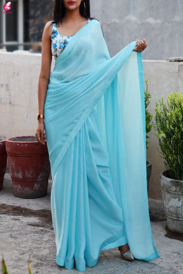 Captivating Blue Color Digital Printed Satin Saree
