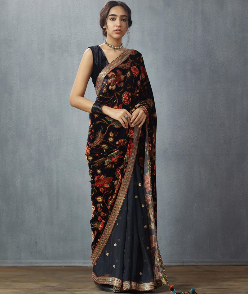 Adoring Black Printed Georgette Saree