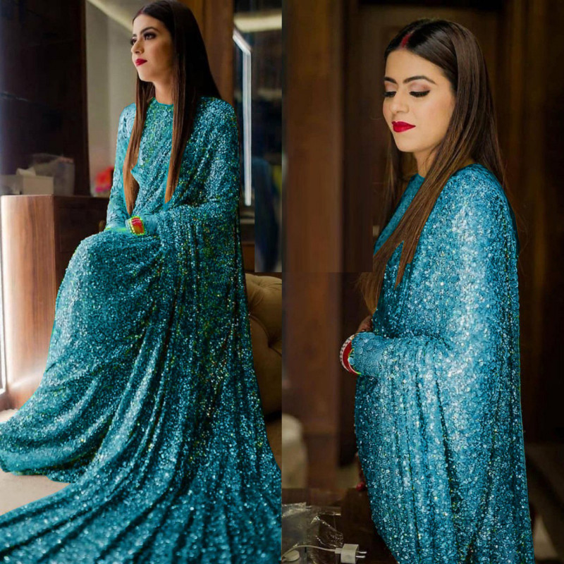 Flaunt Sky Blue Color Sequence Work Saree