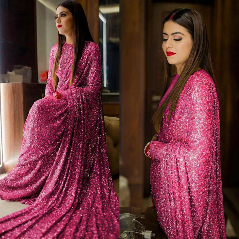 Flaunt Pink Color Sequence Work Saree