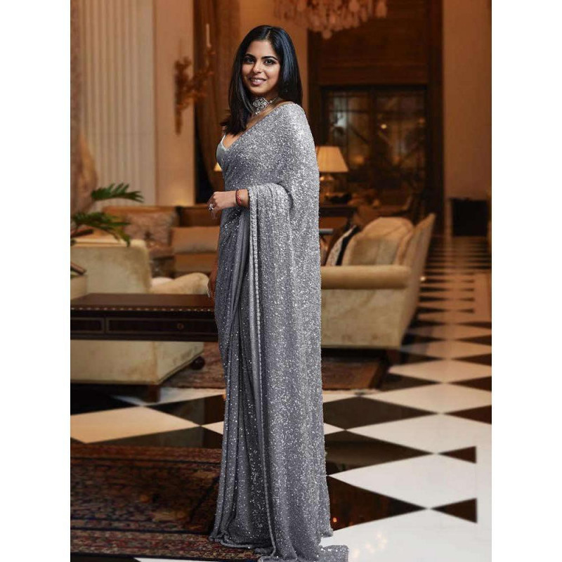 Sophisticated Sequence Work Grey Color Saree