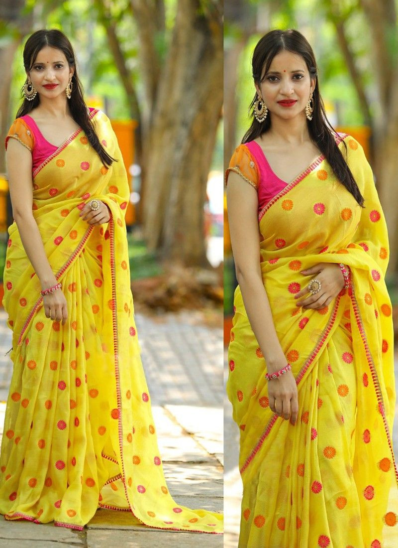 Sophisticated Yellow Color Stylish Saree
