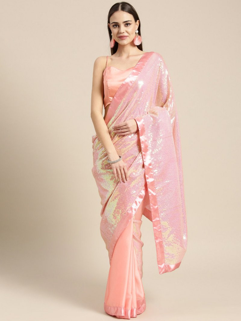 Fabulous Pink Color Poly Crepe Sequence Work Saree