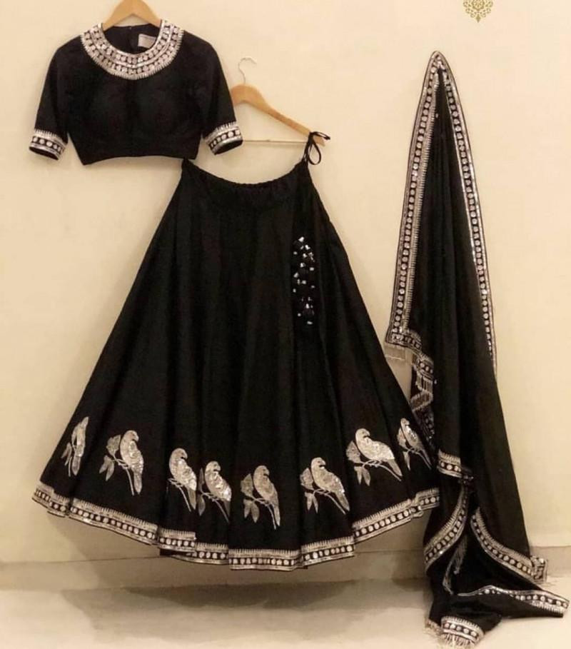 Graceful Black with Parrot Work Embrodery Lehenga Choli