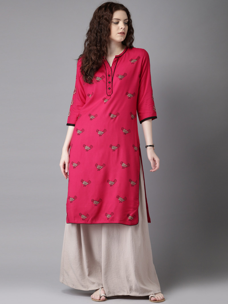 Magnetic  Sparrow Embroidered Pink Color Kurti