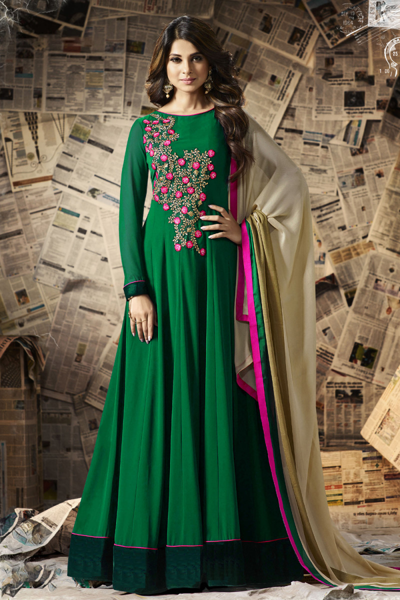 Magnatic Georgette Green Embroidered Full Anarkali Dress
