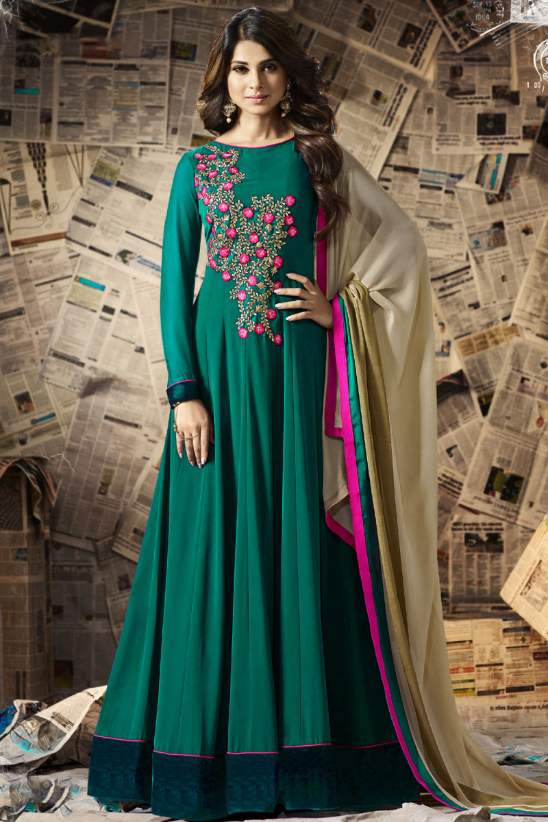 Magnatic Embroidered Rama Color Full Anarkali Dress