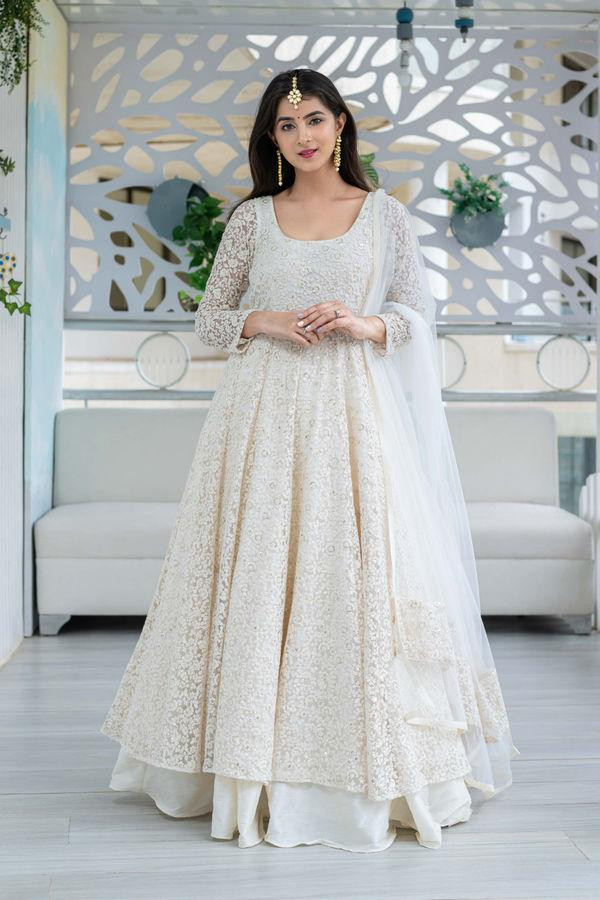 Adoring Sequin With Embroidery Work White Color Anarkali Suit