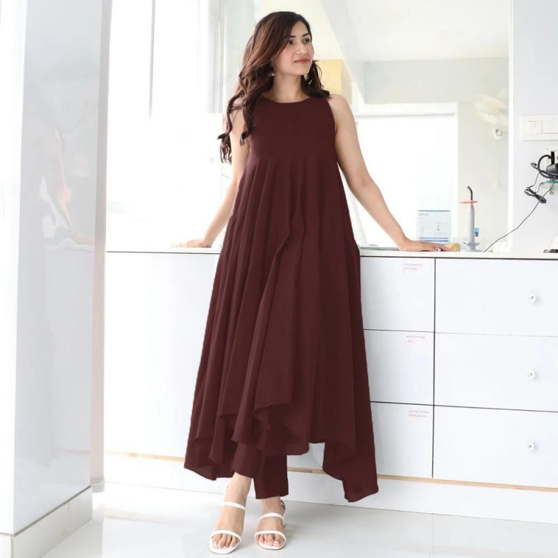 Impressive Cotton Wine And Maroon kurti