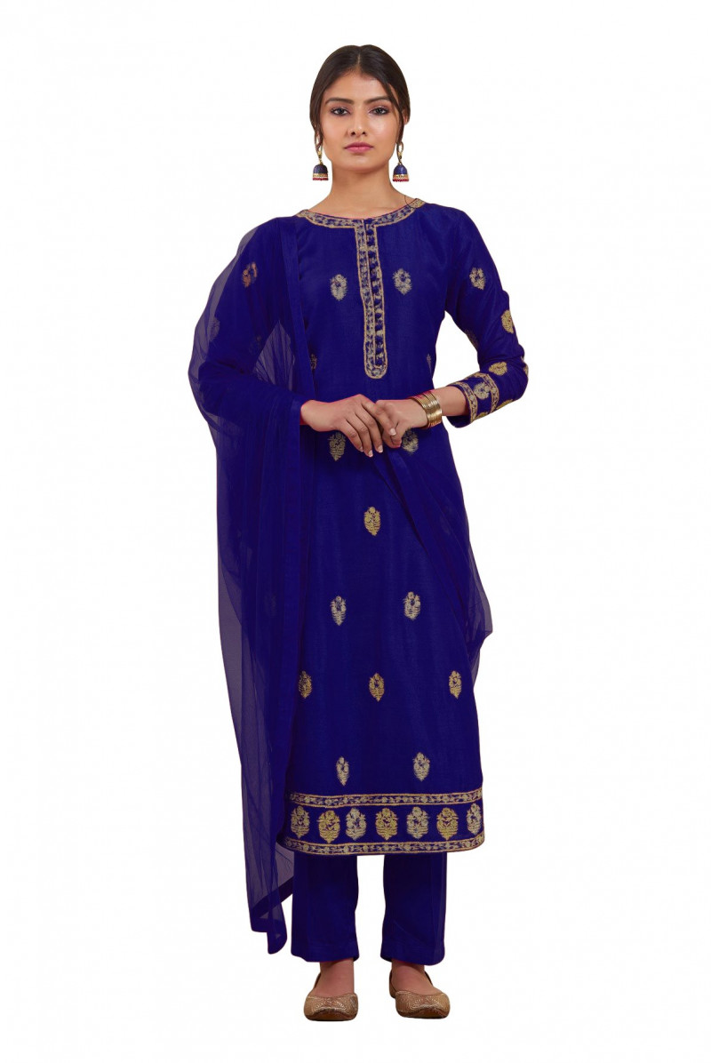 Exclusive Blue Color Chanderi Silk Salwar Suit