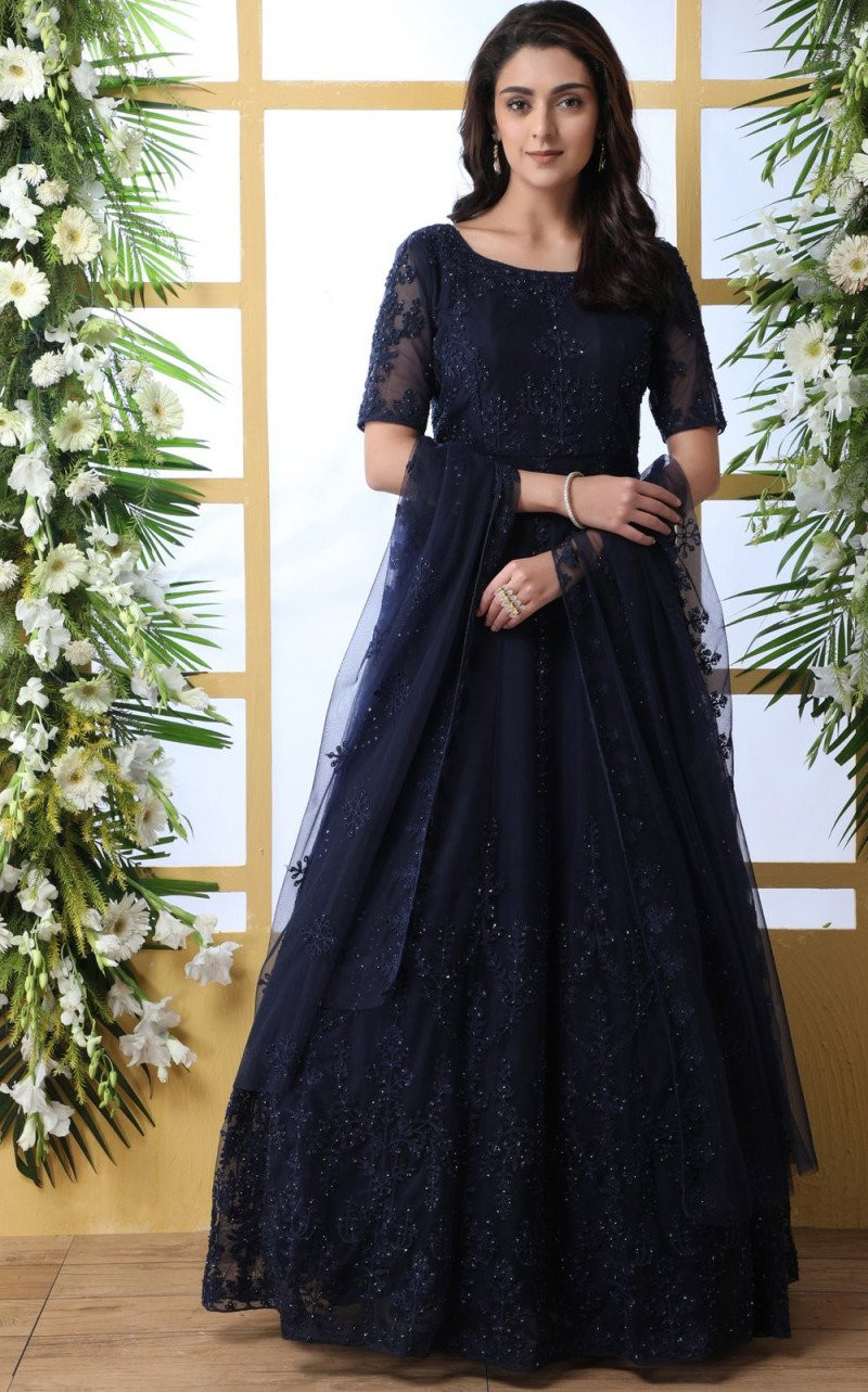 Good Looking Navy Blue Color Full Gown
