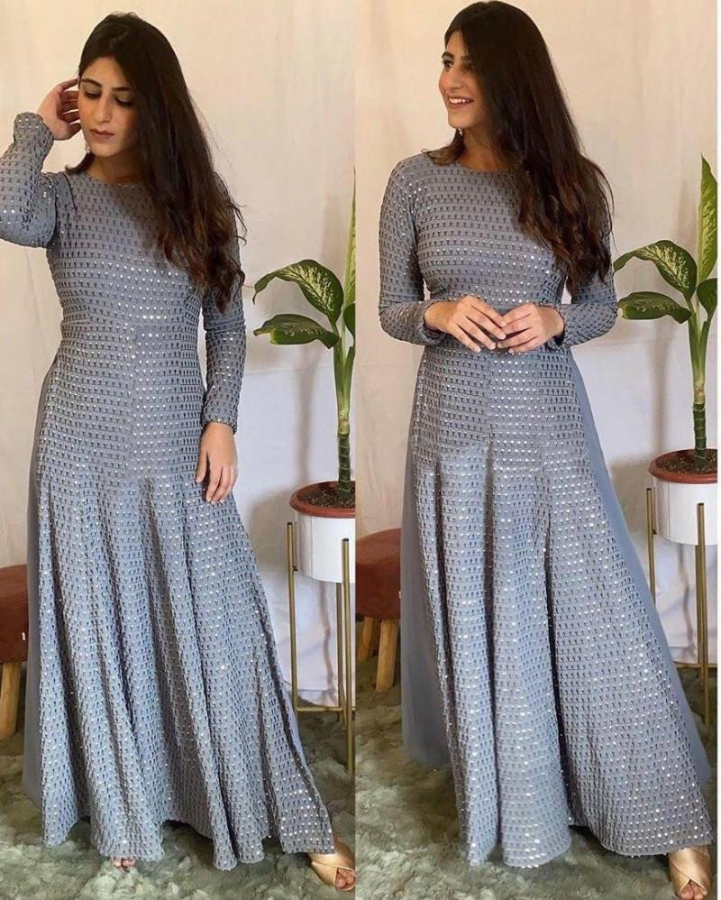 Good Looking Embroidary Work Grey Color Sharara Suit