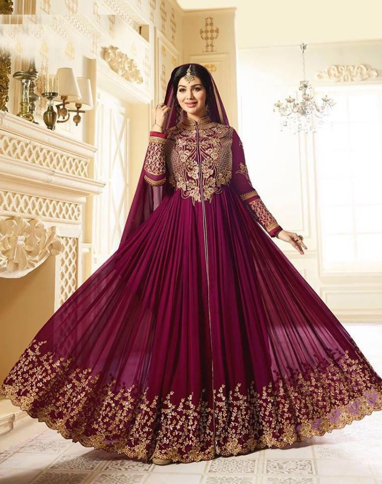 Ayesha Takia Purple Color Embroidered Faux Georgette Suit