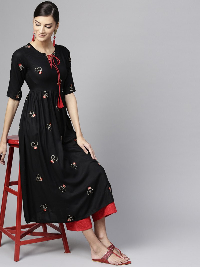 Exotic Black Rayon Kurtis With Plazzo