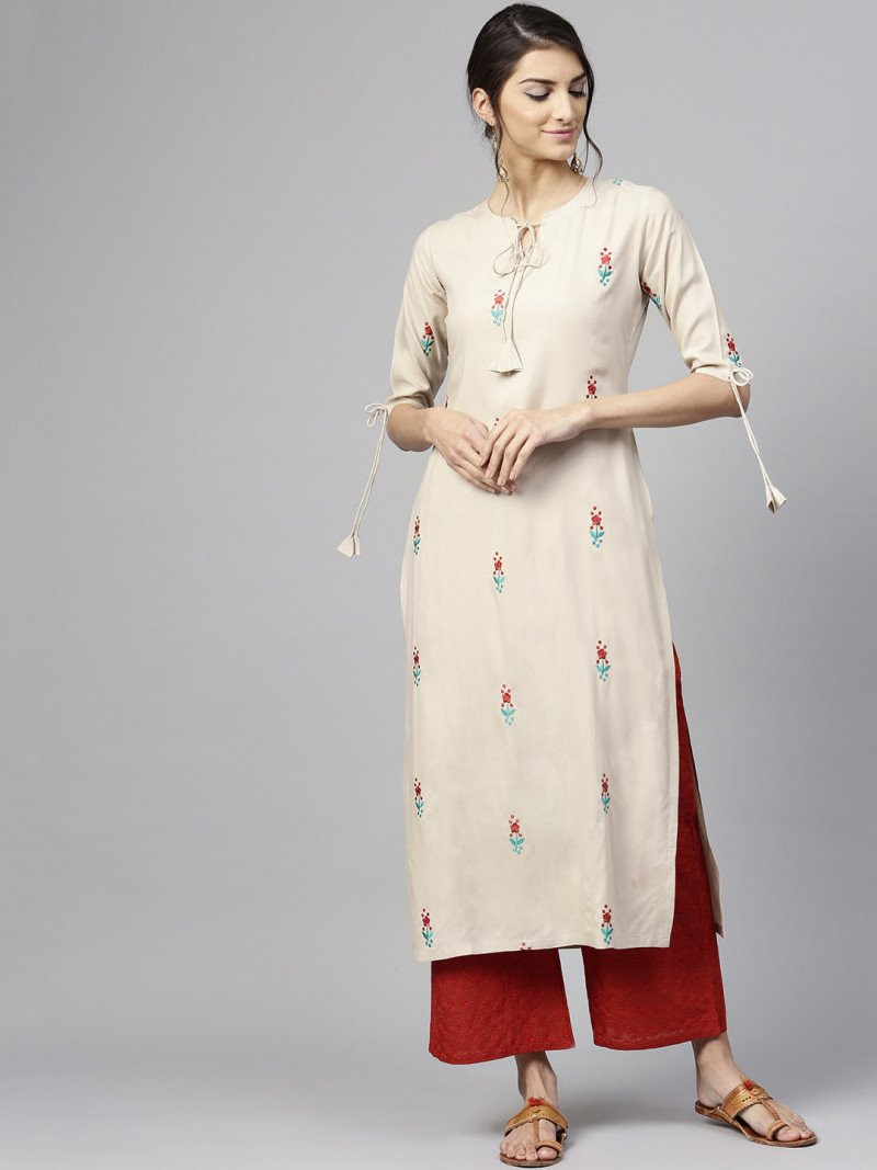 Exotic Cream Rayon Kurtis With Palazzo
