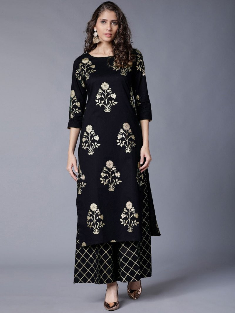 Delightful Black Color Casual Wear Kurti with palazzo