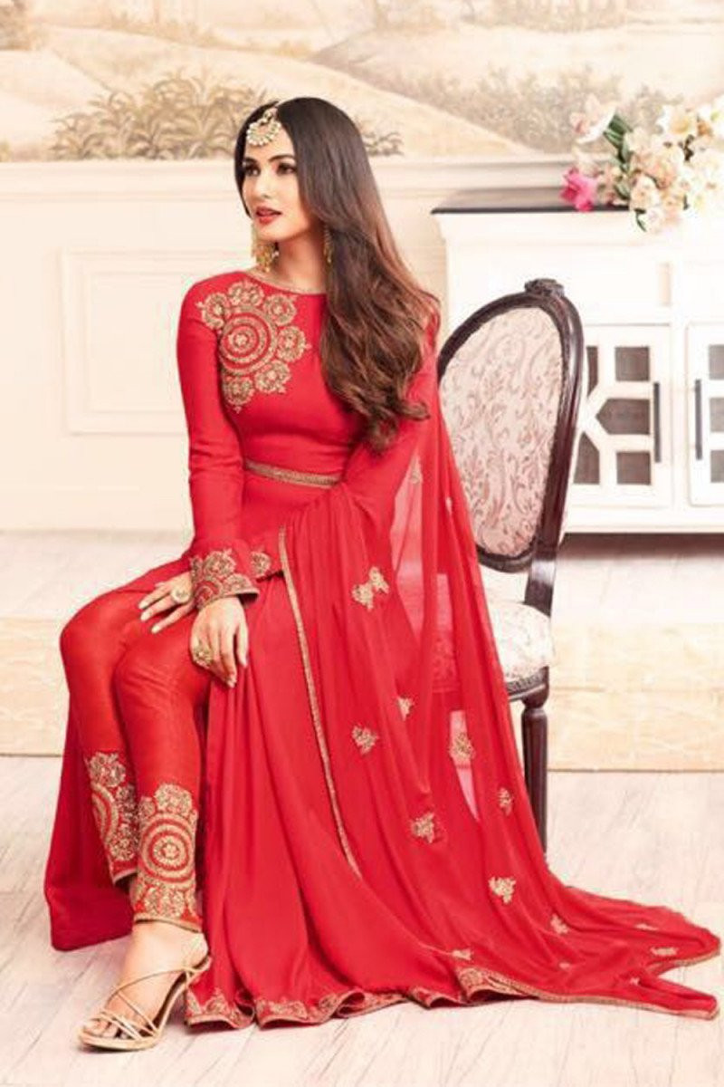 Delightful  Red Color Casual Wear Anarkali Suit