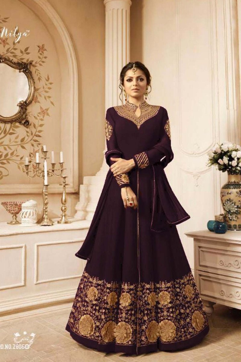 Drashti Dhami Wear Faux Embroidered Wine Color Suit