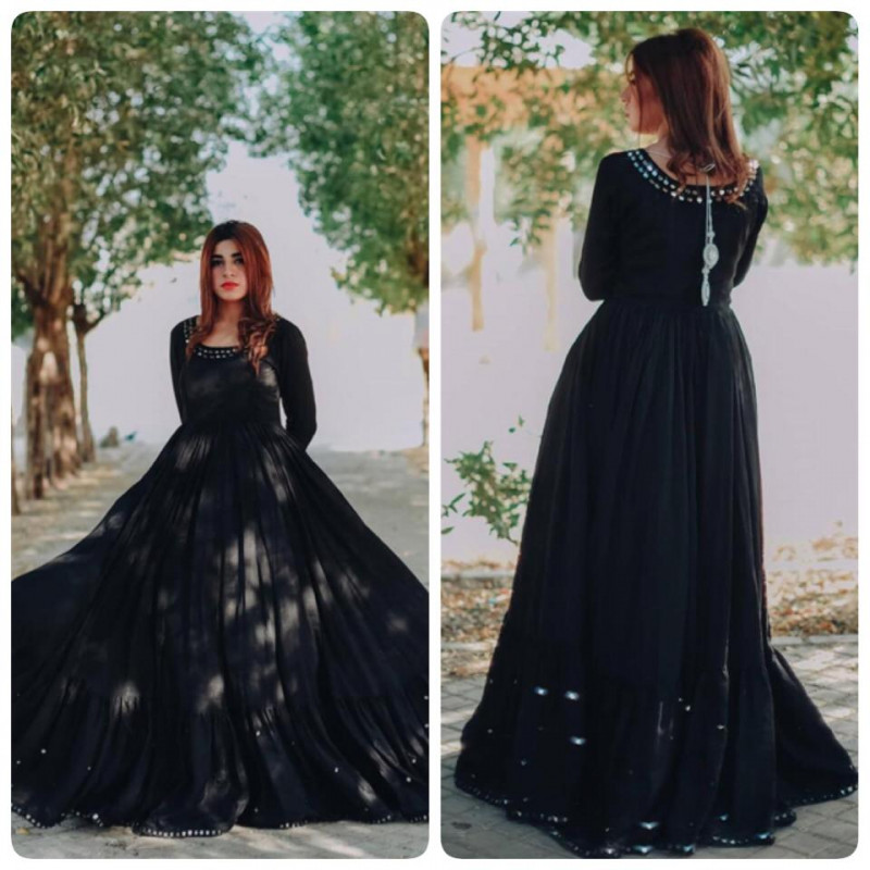 Outstanding Black  Rayon Gown