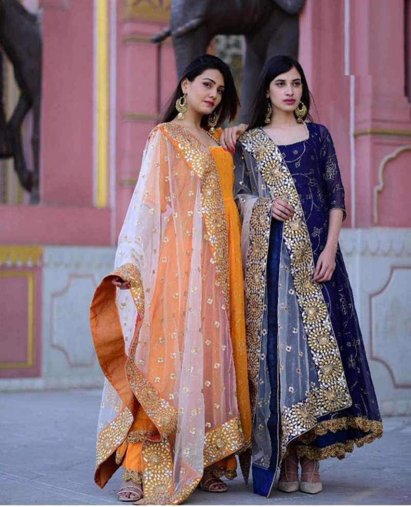 Marvellous Embroidery Work Blue Color Salwar Suit