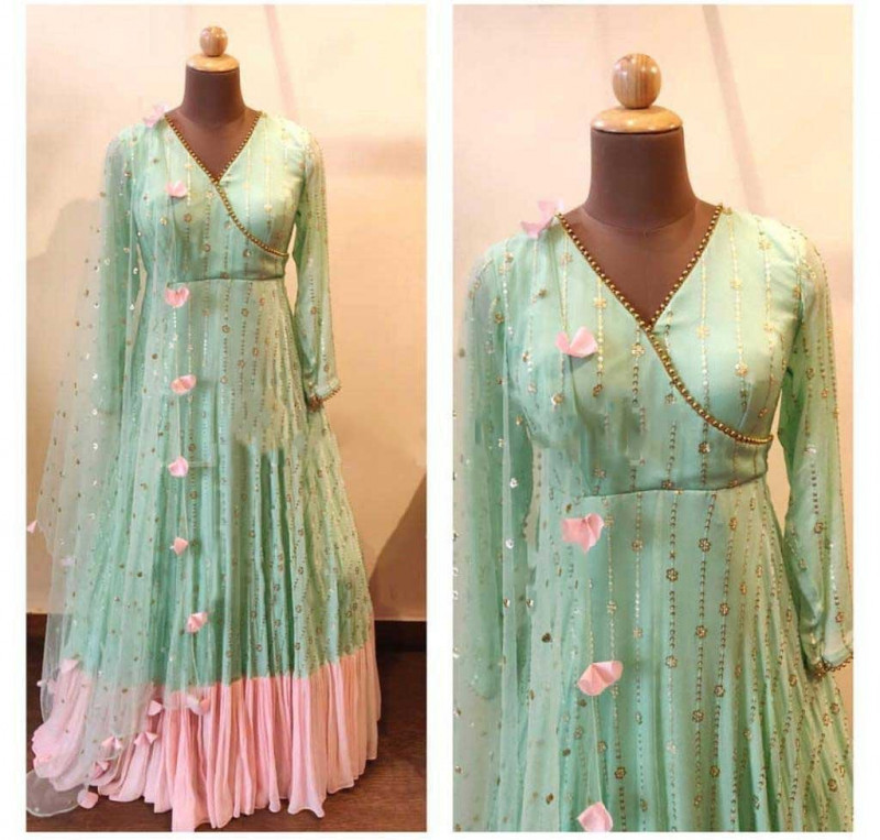 Marvellous Pista Color Embroidery Work Gown