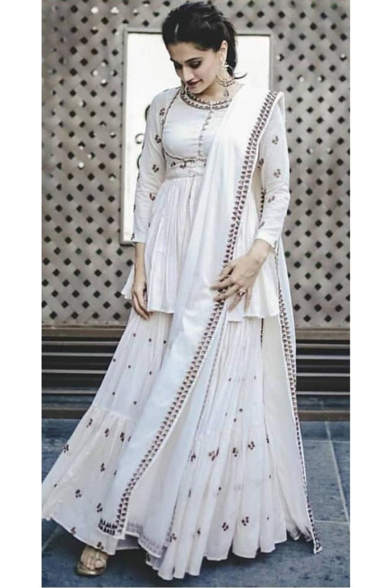 Taapsee Pannu Classy White Colour Celebrity Wear Sharara Suit