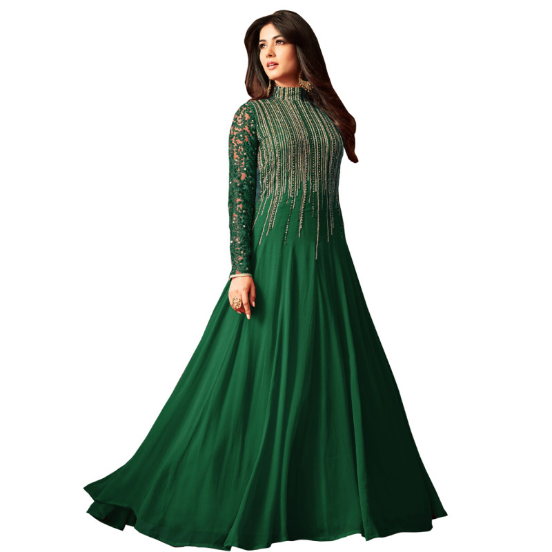 Sonal Chauhan Wear Embroidered Coloured Long Anarkali Suit