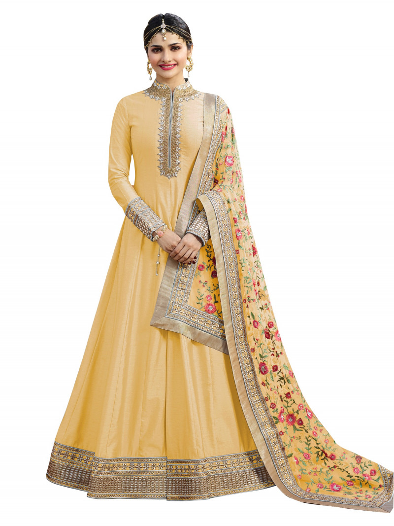 Prachi Desai Wear Yellow Color Embroidered Anarkali Suit