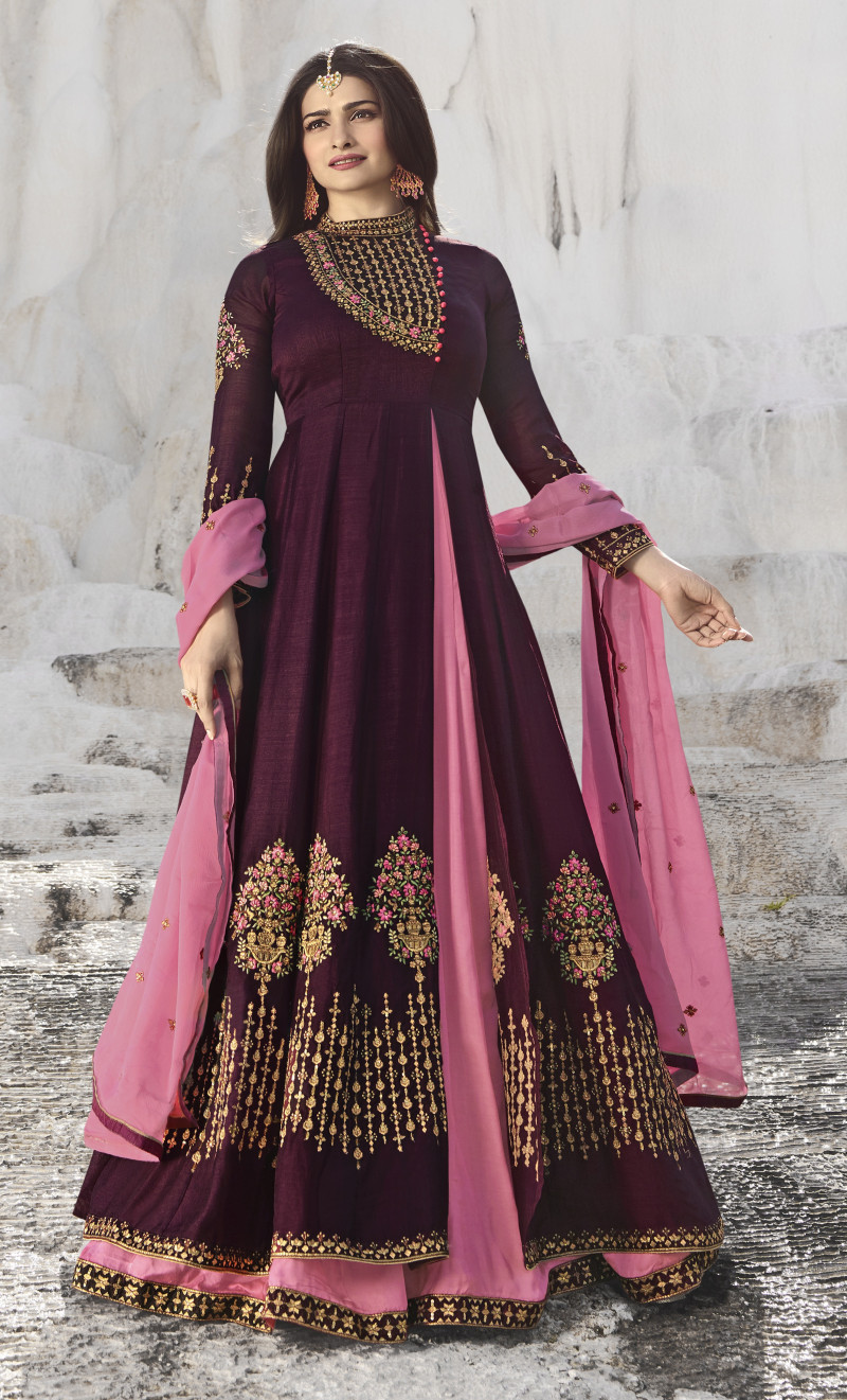 Prachi Desai Wear Coloured Satin Georgette Anarkali Suit